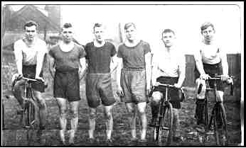 The end of the F.W.C.C. v Spennymoor Harriers race on 25 January 1930. From left to right;- C.J. Edmenson 1st G. Joyce 2nd R.K. Willans 3rd T.F. Willans 4th J.Fall 6th R. Lowe 7th
